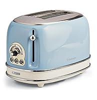 ariete 155 tostapane di design a 2 fette con pinze, 6 livelli di tostatura, 810 w, corpo acciaio inossidabile, vassoio raccoglibriciole estraibile, azzurro pastello