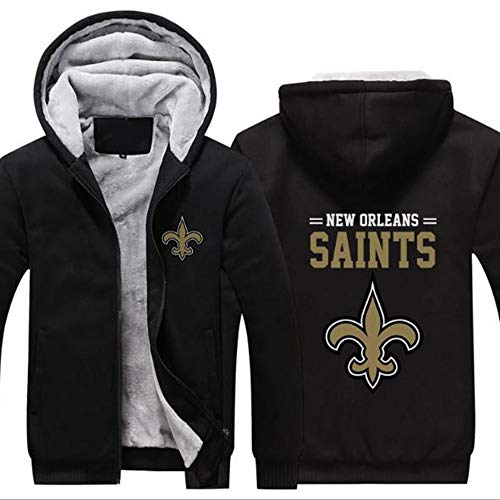 CCL NFL Football Kleidung New Orleans Saints Trainingsanzug Eindickung Plus Velvet Zipper Kapu,B,XL
