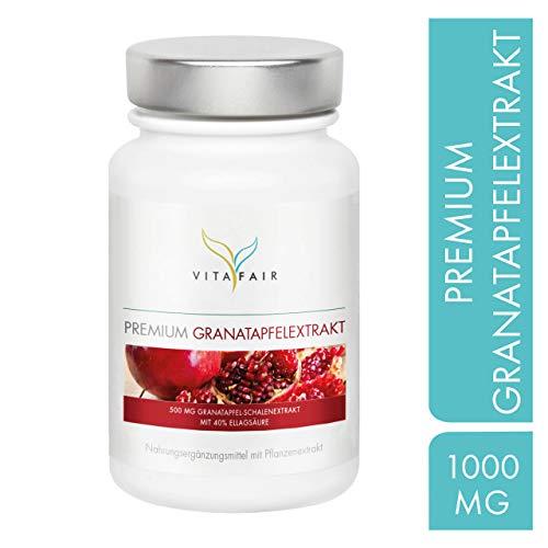 Granatapfel Extrakt - 1000mg pro Tagesdosis - 120 Kapseln - 40% Ellagsäure = 400mg - Hochdosiert - Aus Granatapfel-Schalen - Vegan - Ohne Magnesiumstearat - Made in Germany