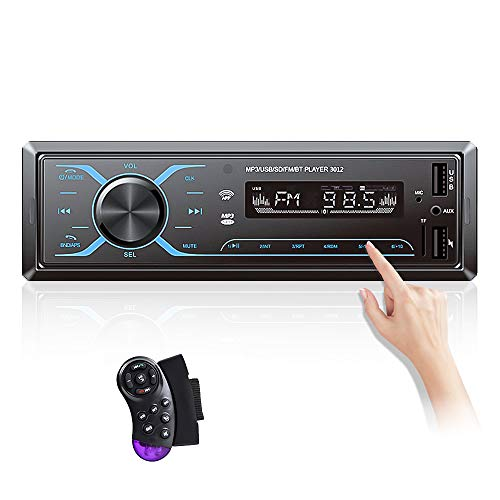 Single Din Car Radio with Bluetooth 1DIN in-Dash Car Stereo Support FM Receiver App Control, Digital Audio Music Mp3 Player MIC/Dual USB/SD/AUX/APP + Steering Wheel Control