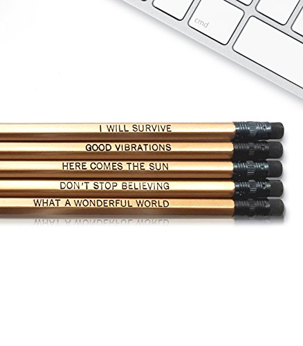 Good Vibes - Inspirational Pencils Engraved With Funny And Motivational Sayings For School And The Office