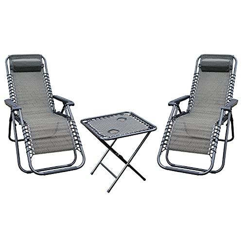H4L Juego de sillas de mesa Relax para camping, color negro y gris topo, muebles de jardín plegables, resistentes a la intemperie, muebles de balcón y terraza
