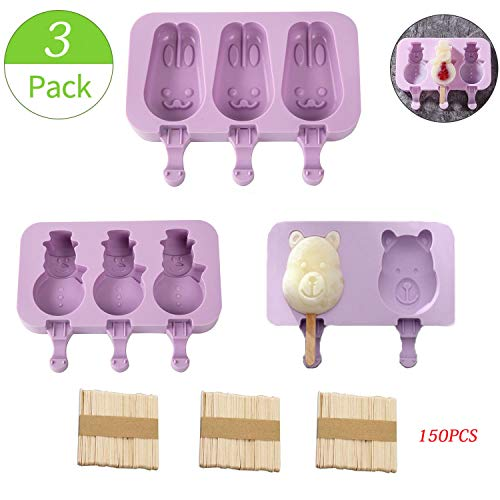WELLXUNK Eisformen Silikon, 3 Stück Popsicle Formen,Wiederverwendbare Eisformen,Mit 150 Holz Popsicle Sticks,für DIY Sommer Kinder und Erwachsene