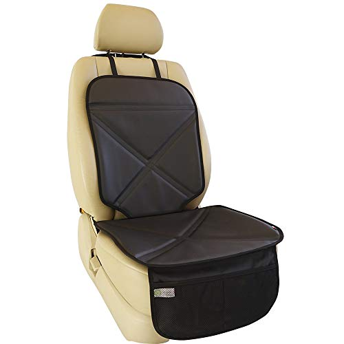 Viaviat Car Seat Protector Leather Waterproof Child Safety Seat Protector Cover with Thick Pad and 2 Large Pockets Durable Kick Mat for All Auto Seat (Black)
