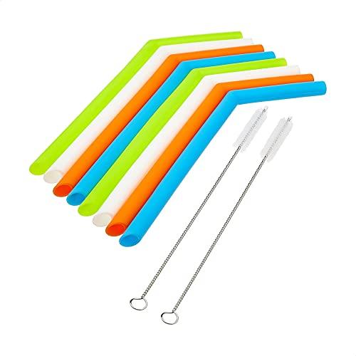 AmazonCommercial Silicone straws, 8 straws and 2 brushes