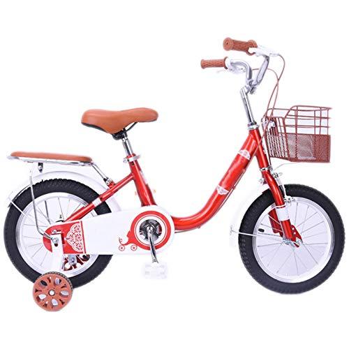Bicicletas Deportivas Al Aire Libre, Bicicletas De Dos Ruedas con Neumáticos, Bicicletas Infantiles para Niño Y Niña con Ruedas Auxiliares,Rojo