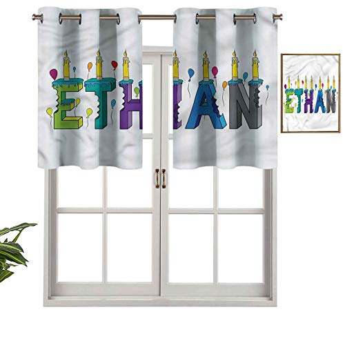 Hiiiman Blackout Valance Window Curtain Festive Candles Balloon, Set of 1, 54'x18' for Indoor Living Dining Room Bedroom