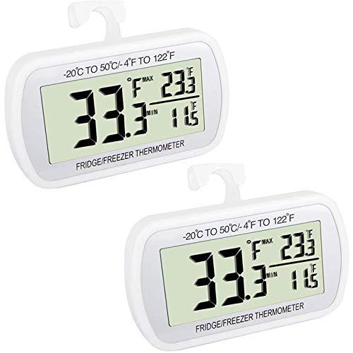 ACAMPTAR TermóMetro para Refrigerador, Refrigerador, TermóMetro Digital para Congelador, Pantalla LCD Grande (Paquete de 2)