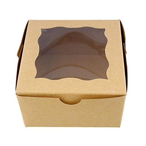 "Special T Brown Bakery Boxes with Window, 25pk – 4"" x 4"" Inch Cake Boxes, Party Favor Boxes, Candy Boxes, Dessert Boxes"