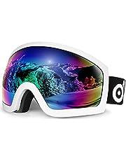 Odoland OTG skidglasögon med anti-dimma, anti-bländning och UV400-skyddslins, dubbla sfäriska glasögon för skidåkning skridskoåkning snöskoter och snowboard passar män och kvinnor