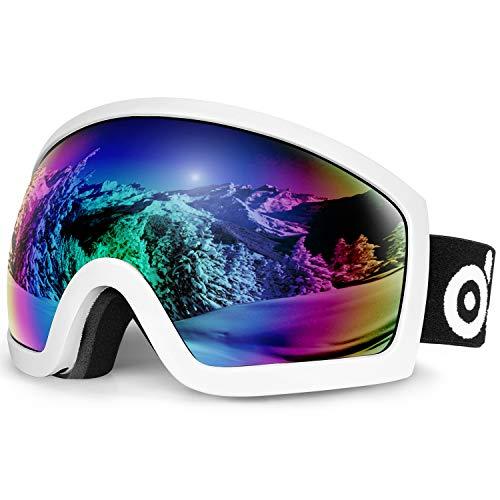 Odoland Gafas de Esquí para Adultos y Jóvenes, Gafas de Snowboard de Doble Capa - 100% Protección UV y a Prueba de Viento, Correa Ajustable, Blanco y Rosa VLT 18%