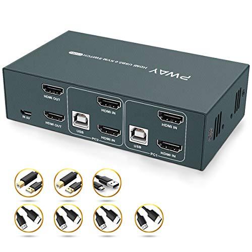 GHT HDMI KVM Switch Dual Monitor 2 Port Extended Display 4K, 2 USB 2.0,4K@30Hz,KVM Doppel Monitor,HDCP1.2,YUV4:4:4,Ultra HD,Hotkey Switch, HDMI Umschalter, Stromversorgung über USB