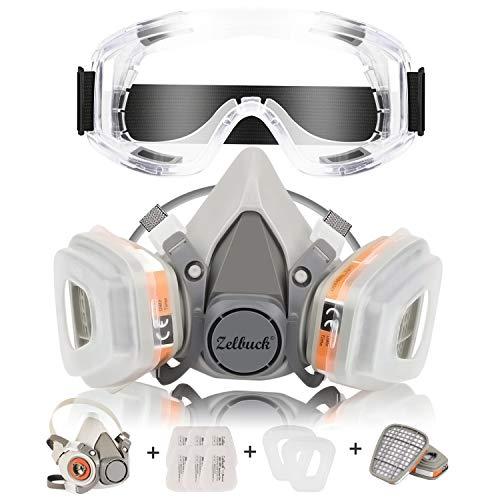 Zelbuck Professionelle Wiederverwendbare Halb Gesicht Abdeckung mit Schutzbrille - Ausgestattet mit 2 Filtern und 6 Filterbaumwolle für Handwerker, Heimwerker, Farbspritz und Pestizid usw