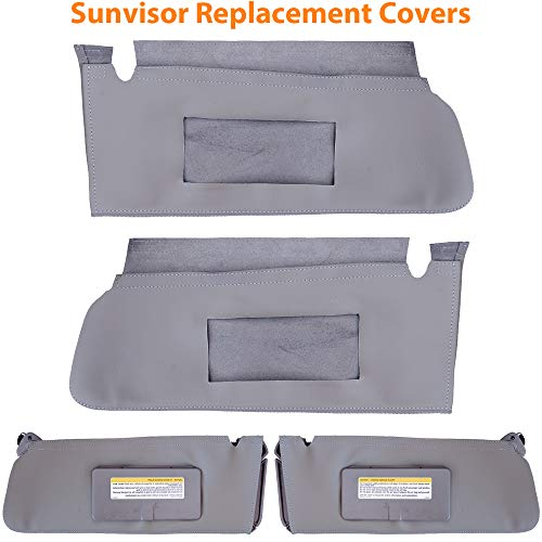 Auto Sun Visor Cover for Chevy Chevrolet Tahoe, Suburban & GMC Yukon 1995-1999 Vinyl Microfiber Leather Left and Right Side Replacement Gray