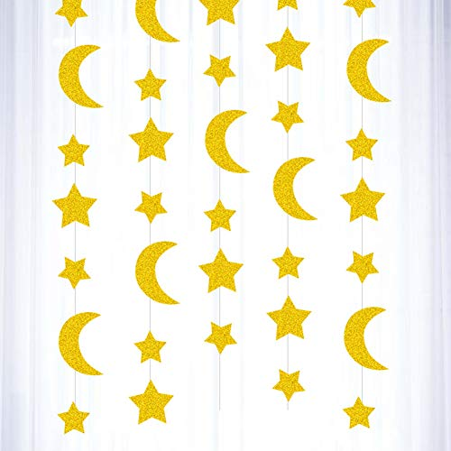 Banner Star Bunting Banner Ramadan Eid Mubarak Paper Hanging Decorations with Moon Star for Eid Mubarak Party Decorations 4m 4pcs Gold