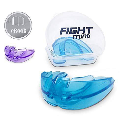 Fight Mind Zahnschutz | Mundschutz für Zahnspangenträger | Schützt Ober,- und Unterkiefer | 100% medizinisches Silikon | + Ebook + Zufriedenheitsgarantie | (Blau)