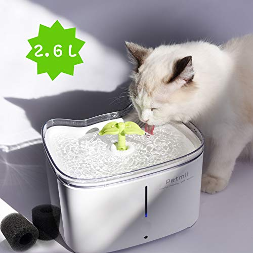 Petmii Katzen Trinkbrunnen, Katzenbrunnen Organischer Filter Leise rutschfest Hunde und Katzen Automatisch Leise Haustier Wasserbrunnen Wasserspender mit Aktivkohlefilter 2.6L (Trinkbrunnen)