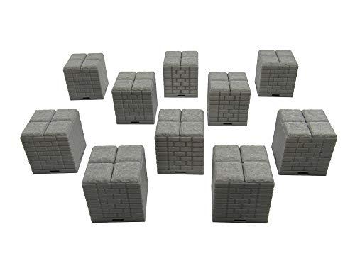 EnderToys Bloqueo de Azulejos de mazmorra – Suelo Elevado (10 Piezas), Terrain Scenery Mesa 28 mm Miniaturas Juego de rol, impresión 3D pintable