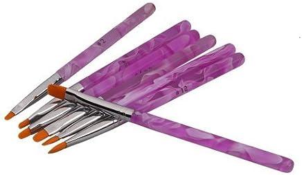 Juego de 7 Pinceles Pintauñas UV Gel parara Decorar Uñas Nail Art Decoration