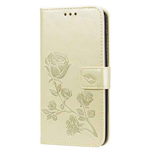 Funda para Samsung Galaxy M01, a prueba de golpes, piel sintética, con función atril, ranura para tarjeta, portátil, funda protectora para Samsung Galaxy M01, color dorado