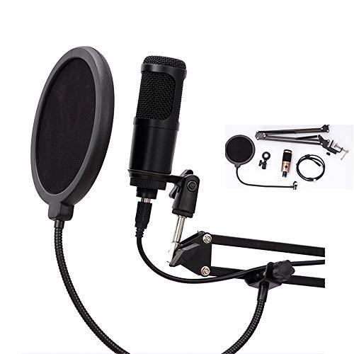 WXYLYF Professionelles Studio Kondensatormikrofon USB-Mikrofon-Kit Mit Einstellbarer Mikrofonaufhängung Scherenarm Metall-Doppelschicht-Pop-Filter,Schwarz