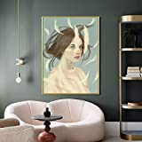 UIOLK Abstracto Colorido Hermoso Pluma Chica Arte de la Pared Lienzo impresión Cartel Abstracto Pintura Arte Decorativo nórdico Pintura de Pared Decorativa Dormitorio Oficina en casa