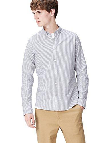 T-Shirts Camisa de Rayas Entallada con Cuello Óxford para H