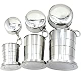 XHSPORT XH New Stainless Steel Portable Folding Telescopic Collapsible Outdoor Travel Cup Mug Keychain Hiking (L)