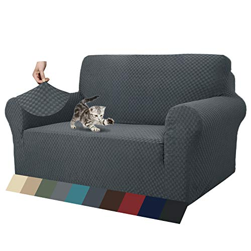 MAXIJIN Newest Jacquard Sofa Covers for 2 Seater, Super Stretch Non Slip Love Seat Couch Cover for Dogs Pet Friendly Elastic Furniture Protector Loveseat Slipcovers (2 Seater, Dark Grey)