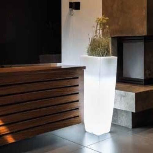 Resina de maceta Mod. Agave rectangular con lámpara LED (40x 40cm) H90cm, color blanco)