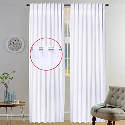 Light & Pro White Kitchen Curtains, Rod Pocket Curtains, Dining Room Curtains, Cotton Curtain Window Panel, Curtains Wide, Cotton reverse Tab Top curtain Panel - 50x108 Inch- White- Set of 2 Panels