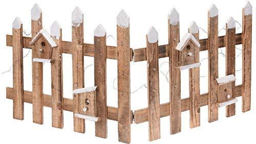 Deko Holz Zaun mit 30 LED in natur - 100x40 cm - Mini Gartenzaun Winter Gatter beleuchtet