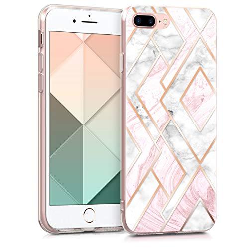 kwmobile Carcasa Compatible con Apple iPhone 7 Plus   8 Plus - Funda de TPU y mármol y Oro en Oro Rosa Blanco Rosa Palo