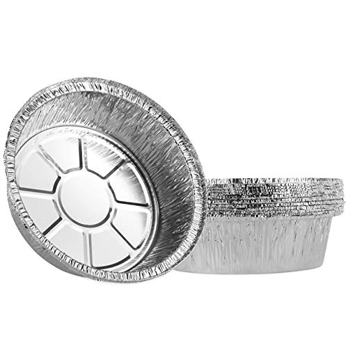 Plasticpro 6'' Inch Round Tin Foil Cake Pans Disposable Aluminum, Freezer & Oven Safe - For Baking, Cooking, Storage, Roasting, Reheating, Pack of 10