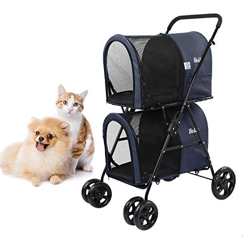 Dawoo Doppelter Kinderwagen für kleine, mittlere Hunde und Katzen, Abnehmbarer 4-Rad-Kinderwagen Doppel-Kinderwagen mit 2 tragbaren Reiseträgern/Einhand-Klapp- / Aufhängungssystem. (Dunkelblau)