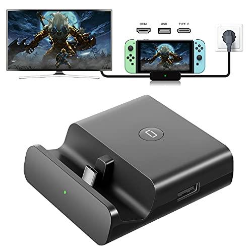 YOMADFUN Docking Station für Nintendo Switch/Switch Lite, Switch TV Dock für NS Switch mit HDMI, Typ-C und USB 3.0 Hub HDMI Konverter auf 1080P HDMI Adapter - Schwarz