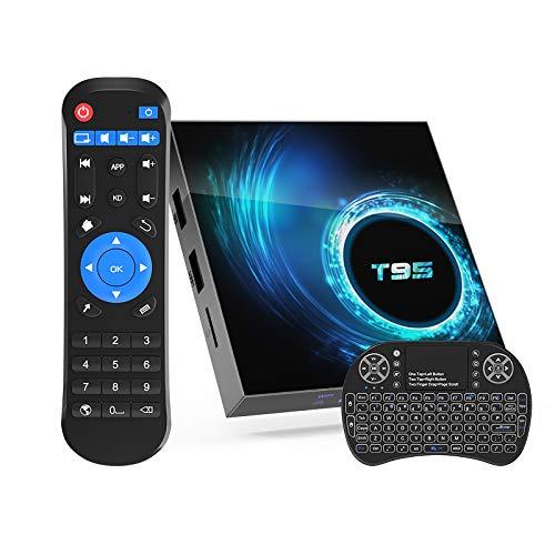 Android 10.0 TV Box,Allwinner H616 Quad-Core 4GB RAM 32GB ROM Android Stream TV Box with Mini Wireless Backlit Keyboard,Support Dual WiFi 2.4G/5G,BT 5.0,6K,Ultra HD,H.265,3D T95 Smart Media Player