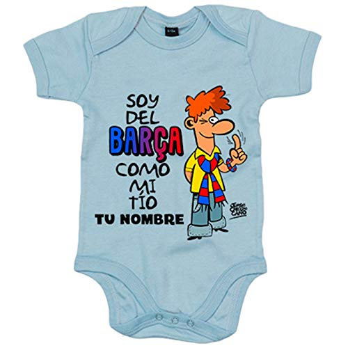 Body bebé frase parodia soy del Barcelona como mi tio personalizable con nombre - Celeste, 6-12...