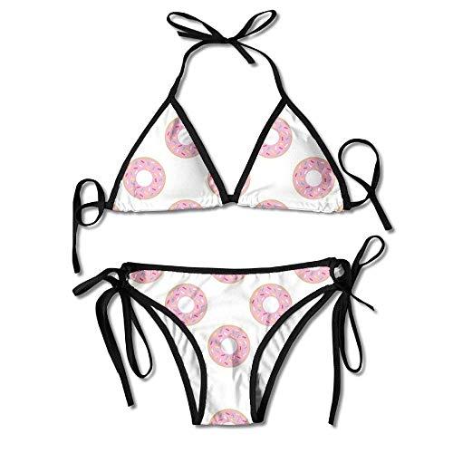 Beachs Bikini Badeanzug für Frauen Zweiteiliger Donut Sweet Food Triangle Bikini
