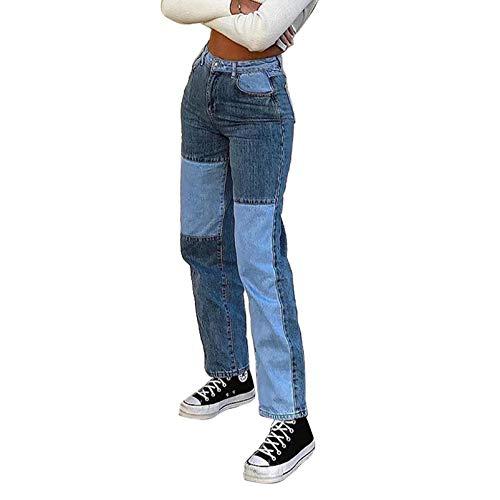 ASJJ Color Block Jeans für Damen Damen Patchwork Jeans Streetwear Frauen Patchwork hohe Taille Taschen Flare gerade Hose Denim-Hose (B-Blau, S)