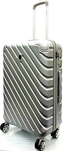 26'/71cm Medium Super Lightweight Durable ABS Hard Shell Hold Luggage Suitcases Travel Bags Trolley Case Hold Check in Luggage with 8 Wheels Built-in 3 Digit TSA Combination Lock(26' Medium, Silver)