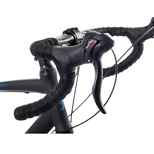 Tommaso Siena - Shimano Tourney Gravel Adventure Bike with Disc Brakes, Extra Wide Tires, Perfect for Road Or Dirt Touring, Matte Black - Medium