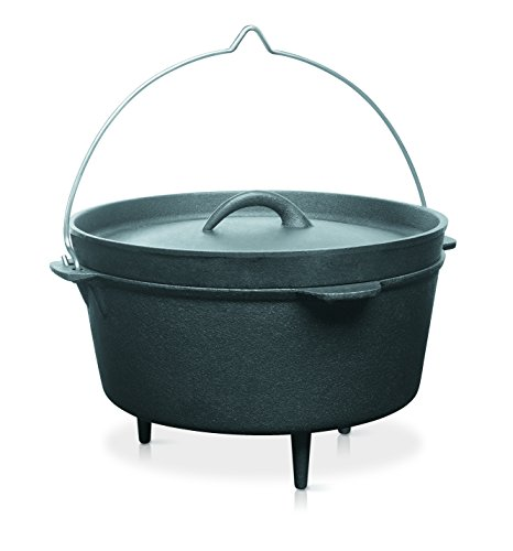 barbecook Dutch-Oven Gusseisen zum Hängen über offenes Feuer mit Füße Grill-Zubehör Kochtopf kann mit Holzkohle auf dem Deckel benutzt werden 3-L