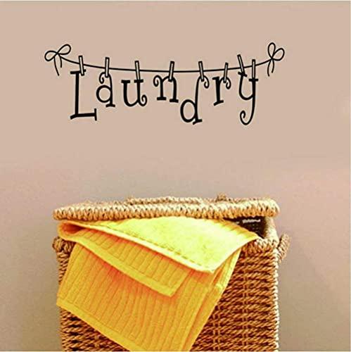 KBIASD Letreros de lavandería, pegatina de vinilo para pared para decoración de la pared de la sala de lavandería, papel tapiz extraíble para baño, calcomanía de pared, decoración del hogar, 61x20 cm