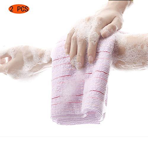 XIAOZHEN Brosse pour Le Corps Brosse de Bain Brosse Paquet De 2 Extra Long Exfoliant Bain en Tissu en Nylon Serviette De Bain Gommage Douche Tissu Nettoyage Éponges (Color : Pink)