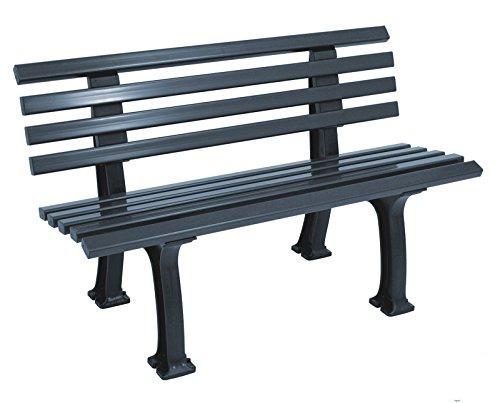 gartenmoebel-einkauf Parkbank 2-sitzer 120cm, Kunststoff Graphit grau