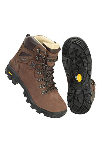 Mountain Warehouse Odyssey Extreme Waterproof Womens Vibram Boots - Durable Ladies Hiking Shoes, Cushioned Footbed Camping Footwear - Best for Travelling, Trekking Brown Womens Shoe Size 4 UK