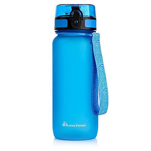 meteor Bottiglia Acqua Senza BPA Borraccia per Bambini Adolescenti e Adulti Ideale per Bici Sportivo Campeggio Scuola Ufficio Palestra Plastica Tritan Diverse Dimensioni e Colori (650ml, Blu)
