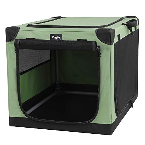 Petsfit Portable Soft Medium Dog Crate, Indoor and Outdoor Crate for Pets, for Medium Dog Green 30 x 20 x 19 Inches