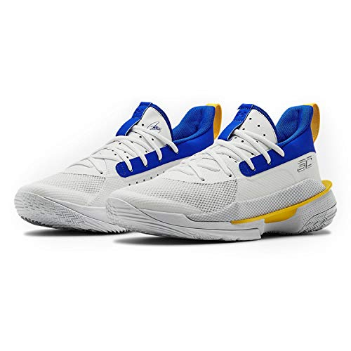 Under Armour Men's Curry 7 Basketball Shoe (White/Blue/Yellow, Numeric_13)